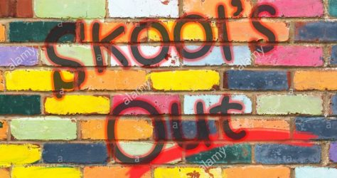 looking-at-a-very-colourful-brickwall-with-the-wording-skools-out-dorset-england-MCFBJ9